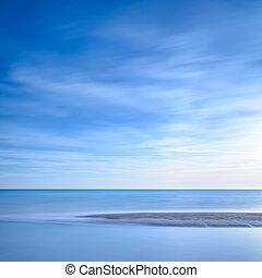 oceano blu, tramonto, linea, spiaggia, sabbioso