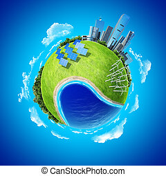 oceano, foresta, turbine, città, vento