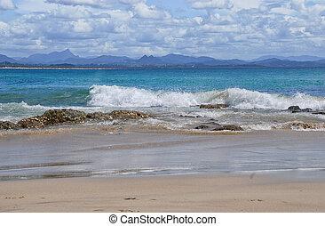 oceano pacífico, em, byron, baía, em, austrália