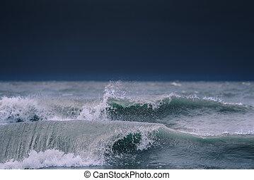 oceano, potente, onde
