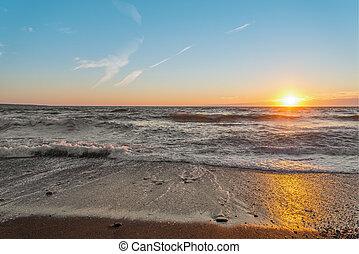 oceano, riva, a, tramonto