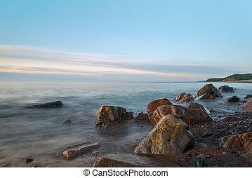oceano, riva, (slow, otturatore, speed)
