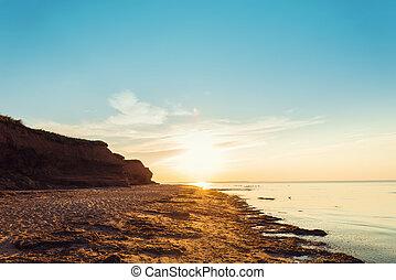 oceano, spiaggia, a, tramonto