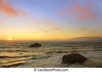 oceano, spiaggia, tramonto, in, san francisco