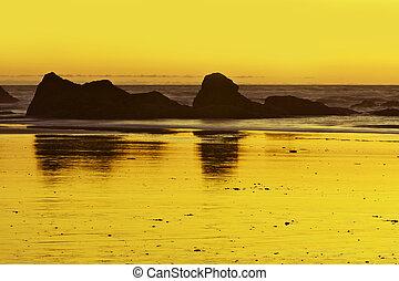 oceano, tramonto, scenario