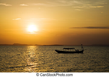 oceano tramonto, sopra