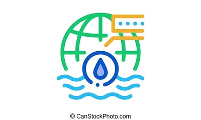 oceanology science Icon Animation. color oceanology science animated icon on white background