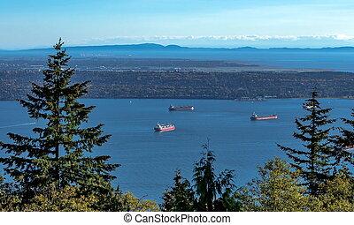 ocean's, port, pétroliers, vancouver