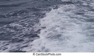 Ocean's wave moving to left - A medium shot of the ocean's...