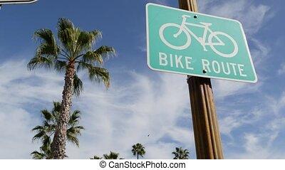 oceanside, style de vie, récréation, bikeway, touriste, parcours, sain, palm., cyclisme, sécurité, enseigne, vélo, signe, route, pacifique, resort., singpost., vert, usa., californie, couloir, vélo, cycleway, symbole