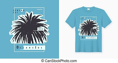 Oceanside. Stylish graphic tee design, poster, print with palm tree.