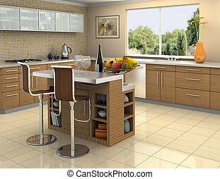 ocel, čistý, dřevo, kuchyně
