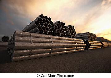 ocel, budova, dudy, bunches., konstrukce, hadice