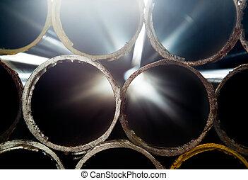ocel, dýmka, abstraktní, narovnal na hromadu