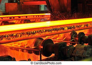 ocel, horký, dopravník