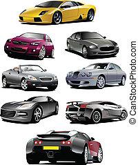 ocho, coches, en, el, road., vector