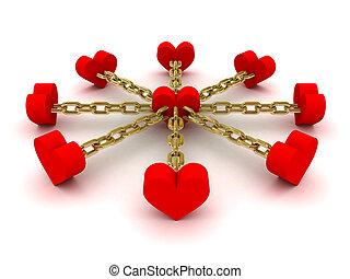 ocho, corazones, ligado, a, uno, corazón