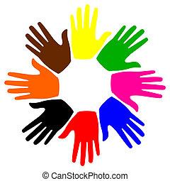 ocho, manos, círculo