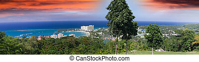 Ocho Rios, Jamaica. Panoramic view from the hill.