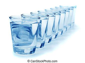ocho, vidrio agua, sano, concepto