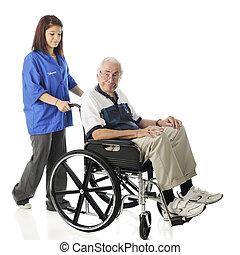 ochotnik, pracujący, z, przedimek określony przed rzeczownikami, starszy