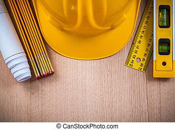 ochranný, helma, výrobní, o, měření, blueprints, a, cons