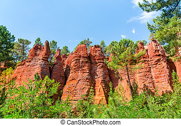 Ochre hills at Roussillon in Provence, France