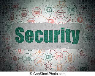 ochrona, concept:, bezpieczeństwo, na, cyfrowy, dane, papier, tło
