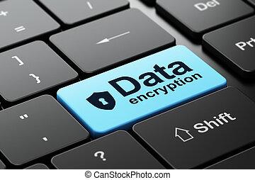 ochrona, concept:, tarcza, z, dziurka od klucza, i, dane,...