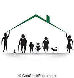 ochrona, ludzie, sylwetka, rodzina