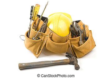 ochronny, instrument, zamsz, pasek, kapelusz, skóra, twardy