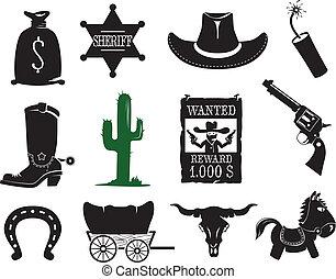 ocidental, ícones, jogo