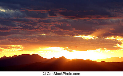 ocidental, pôr do sol