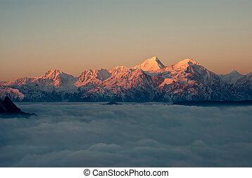 ocidental, sichuan, china, boiada, montanha, nuvem, quedas