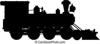 ocidental, trem, silueta
