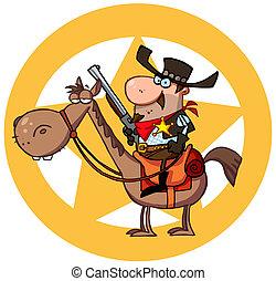 ocidental, xerife, ligado, horseback