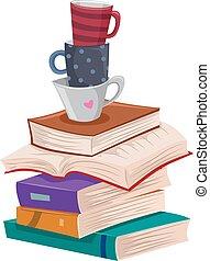 ocio, libros, tazas, pila, largo, lectura