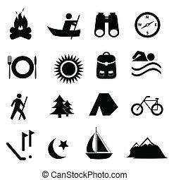 ocio, y, recreación, iconos