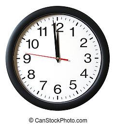 oclock, 12, minuto, uno