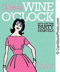 o'clock, vinho, retro, partido, convite