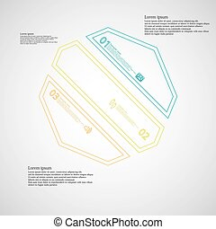 Octagon infographic template askew divided to three color parts