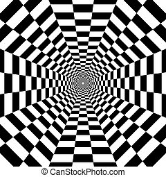 octagonal tunnel out into the distance, black and white geometric pattern, optical illusion, psychedelic