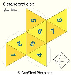 Octahedron template, octahedral dice - one of the five platonic solids - make a 3d item with eight sides out of the net and play dice. Illustration on white background.