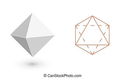 octahedron, -, geomã©´ricas, figure., hipster, moda,...