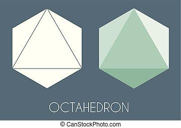 Octaèdre solide platonique. Vecteur De Géométrie Sacrée.