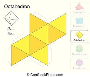 Octahedron Platonic Solid Template Paper Model - Octaèdre ...