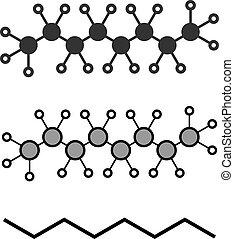 Octane hydrocarbon molecule. Component of petrol (gasoline).