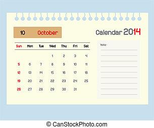 octob, カレンダー, monthly., スケジュール