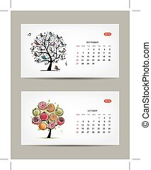 october, 艺术, september, 树, months., 设计, 日历, 2015