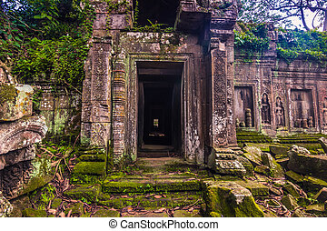 October 11, 2014: Ancient door in the Ta Prohm temple in Siem Reap, Cambodia